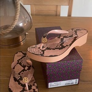 Tory Burch cut out wedge printed flip flop